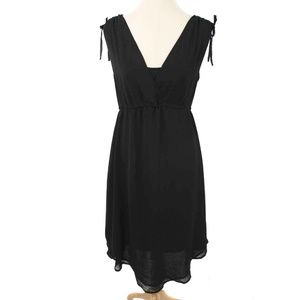 NWT Miilla Black Surplice Chiffon Drawstring Dress
